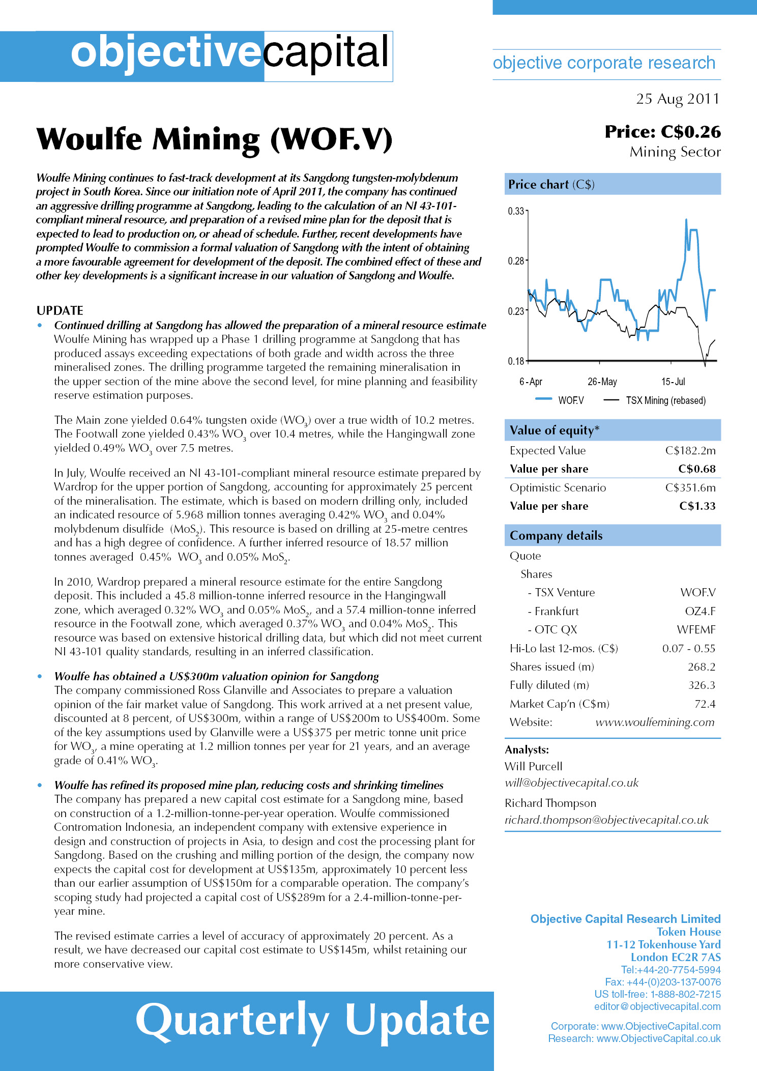 Read report on Woulfe Mining (WOF.V) - significant increase in our valuation